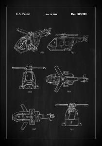 Patent Print - Lego Helicopter - Black Juliste