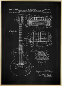Patentti Piirustus - Sähkökitara I - Musta Juliste