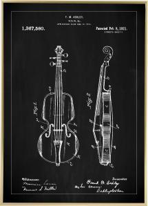 Patentti Piirustus - Viulu - Musta Juliste