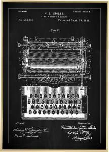 Patentti Piirustus - Kirjoituskone - Musta Juliste