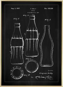 Patentti Piirustus - Coca Cola Pullo - Musta Juliste