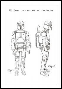 Patenttipiirustus - Star Wars - Boba Fett - Valkoinen Juliste