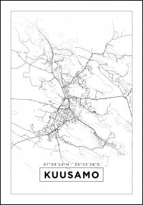 Kartta - Kuusamo - Valkoinen Juliste