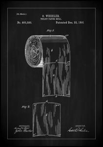 Patent Print - Toilet Paper Roll - Black Juliste