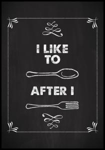 I like to spoon after i fork Juliste