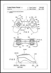 Patent Print - Game Controller II - White Juliste