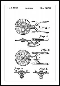 Patentti Piirustus - Star Trek - USS Enterprise Juliste