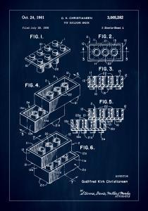 Patent Print - Lego Block I - Blue Juliste