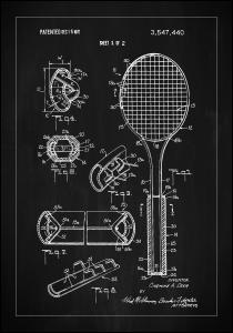 Patent Print - Tennis Racket - Black Juliste