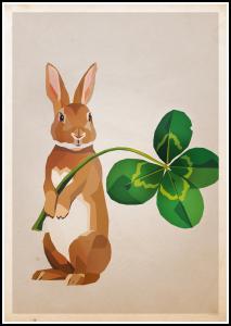 Rabbit with clover Juliste