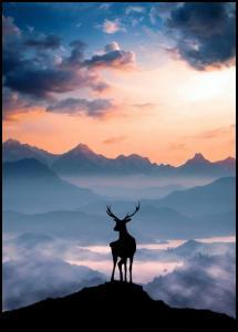 Heavenly Blue Deer Juliste