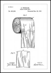 Patent Print - Toilet Paper Roll - White Juliste