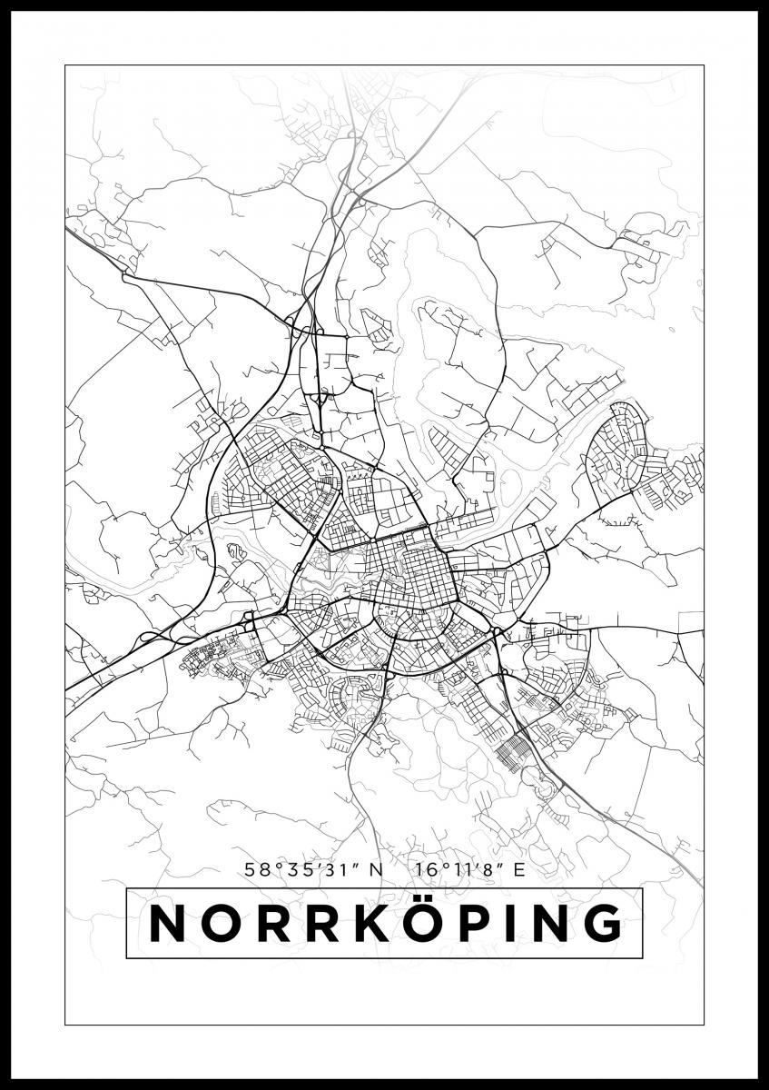 Kartta Norrkoping Juliste Valkoinen Bga Fi