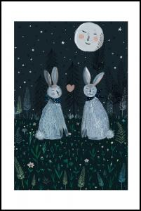 Rabbits in the Forest Juliste