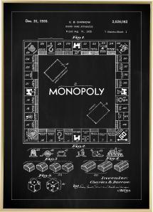 Patentti Piirustus - Monopoly I - Musta Juliste