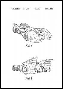 Patentti piirustus - Batman - Batmobile 1990 I Juliste