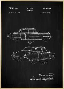 Patentti Piirustus - Cadillac I - Musta Juliste
