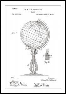Patenttipiirustus - Maapallo - Valkoinen Juliste