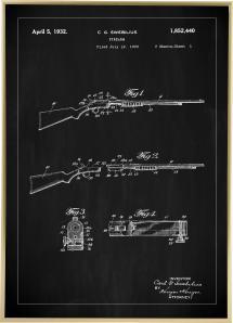 Patentti Piirustus - Kivääri I - Musta Juliste