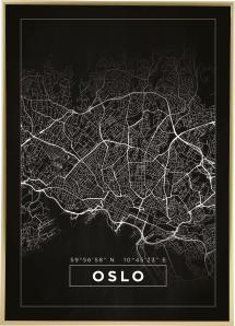Kartta - Oslo - Musta Juliste