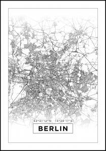 Kartta - Berlin - Valkoinen Juliste