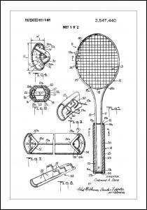 Patent Print - Tennis Racket - White Juliste