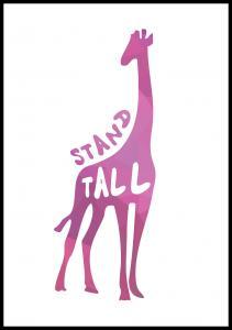 Giraffe stand tall - Vaaleanpunainen Juliste