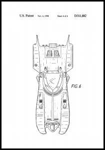 Patentti piirustus - Batman - Batmobile 1990 IIII Juliste
