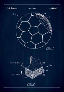 Patent Print - Football - Blue Juliste