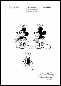 Patentti Piirustus - Disney - Mickey Mouse Juliste