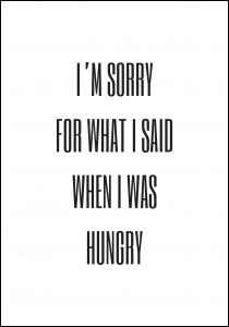 I'm sorry for what i said when was hungry Juliste