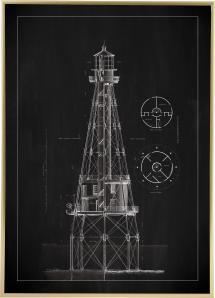 Liitutaulu - Majakka - Ship Shoal Lighthouse Juliste