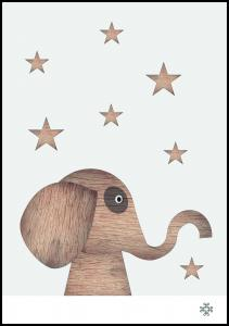 Wood elephant Light Juliste