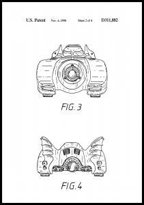 Patentti piirustus - Batman - Batmobile 1990 II Juliste