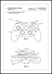 Patent Print - Game Controller III - White Juliste