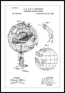 Patenttipiirustus - Tähtitieteellinen malli - Valkoinen Juliste