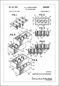 Patent Print - Lego Block I - White Juliste