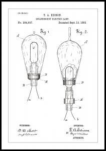Patenttipiirustus - Lamppu A - Valkoinen Juliste