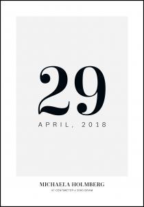 Syntymätaulu Päivämäärä - Harmaa