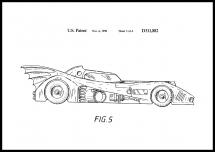 Patentti piirustus - Batman - Batmobile 1990 III Juliste