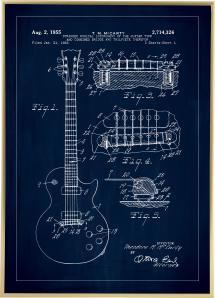 Patentti Piirustus - Sähkökitara I - Sininen Juliste