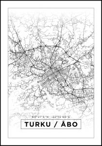 Kartta - Turku / Åbo - Valkoinen Juliste