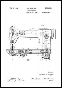 Patentti Piirustus - Ompelukone I Juliste