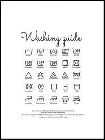 Washing guide white Juliste