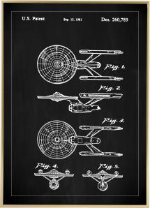 Patentti Piirustus - Star Trek - USS Enterprise - Musta Juliste