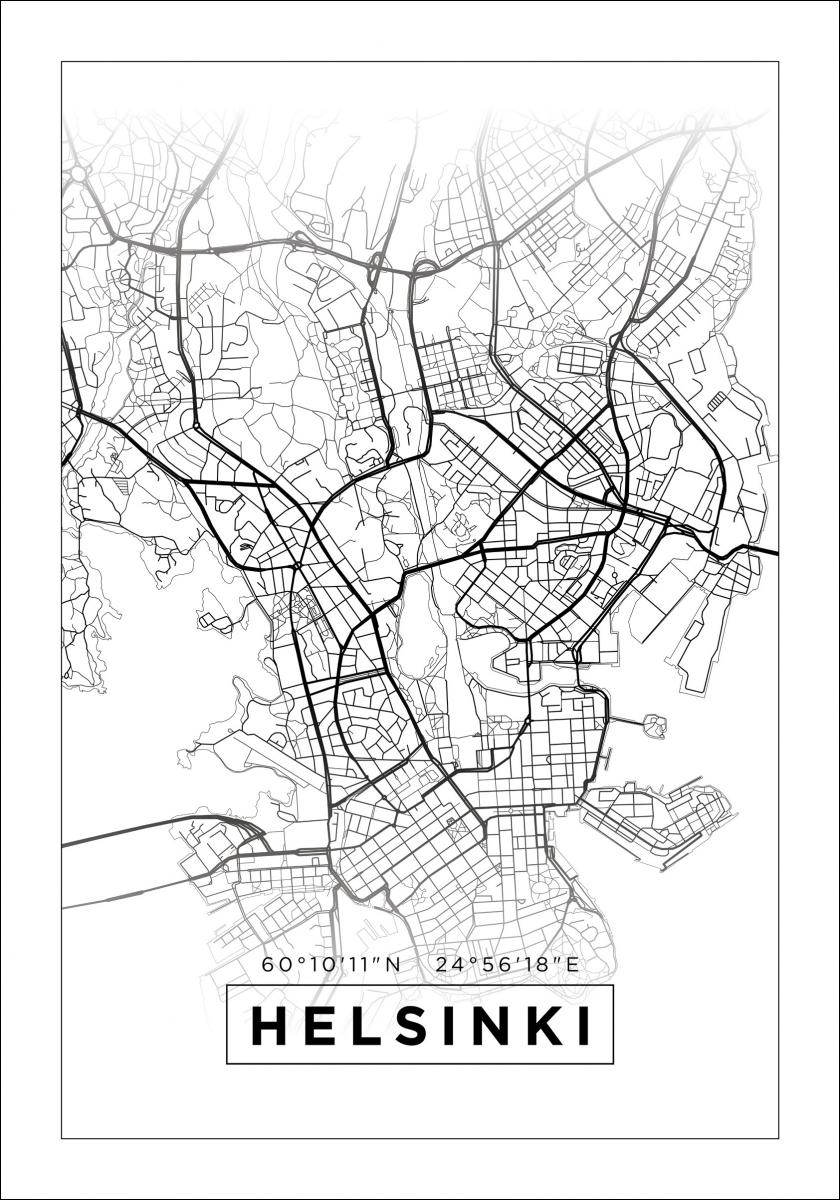 Kartta Helsinki Valkoinen Bga Fi