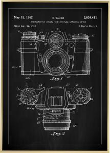 Patentti Piirustus - Kamera I - Musta Juliste