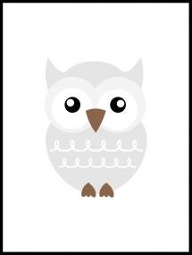 Pöllö Solo - Haaleanharmaa Juliste