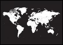 Maailmankartta Valkoinen Mustalla Taustalla Juliste