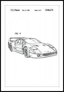 Patentti Piirustus - Ferrari F40 II Juliste